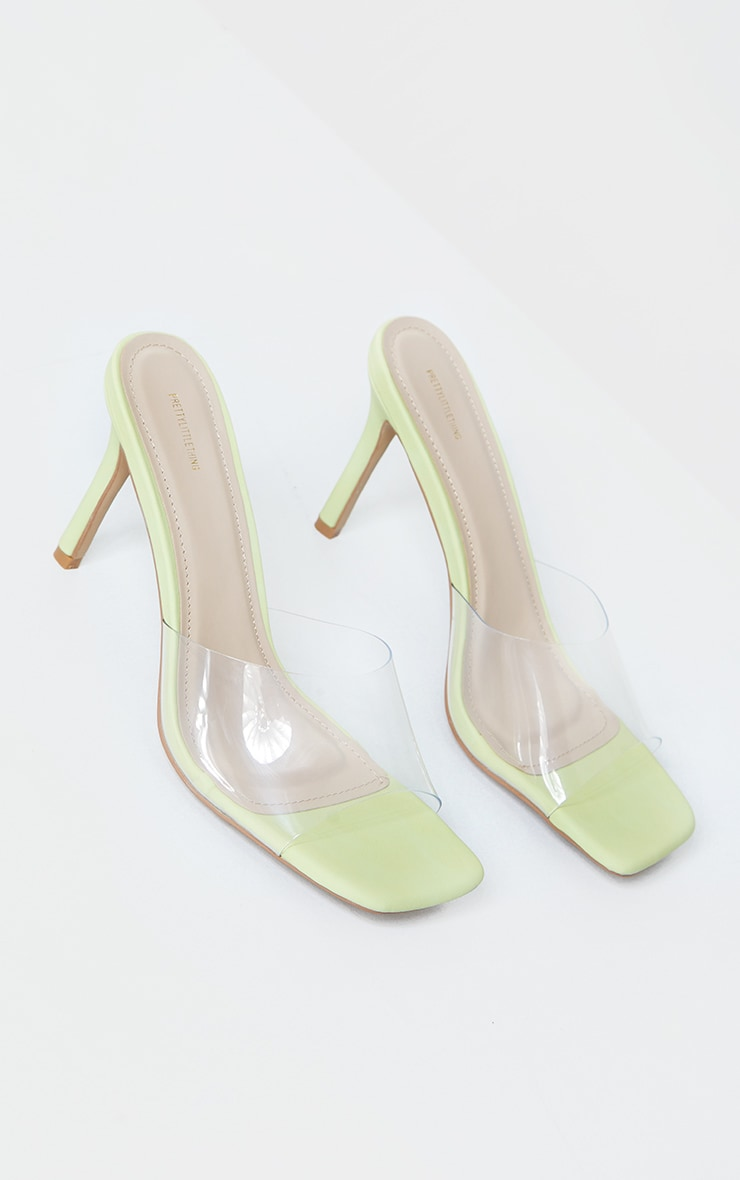 Lime Clear Strap Square Toe Mule Mid Heels 3