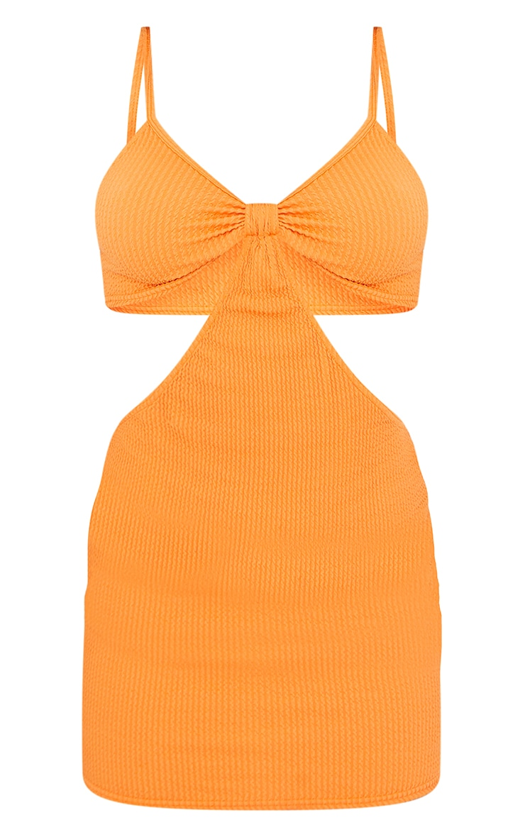Orange Crinkle Strappy Knot Cut Out Bodycon Dress 5