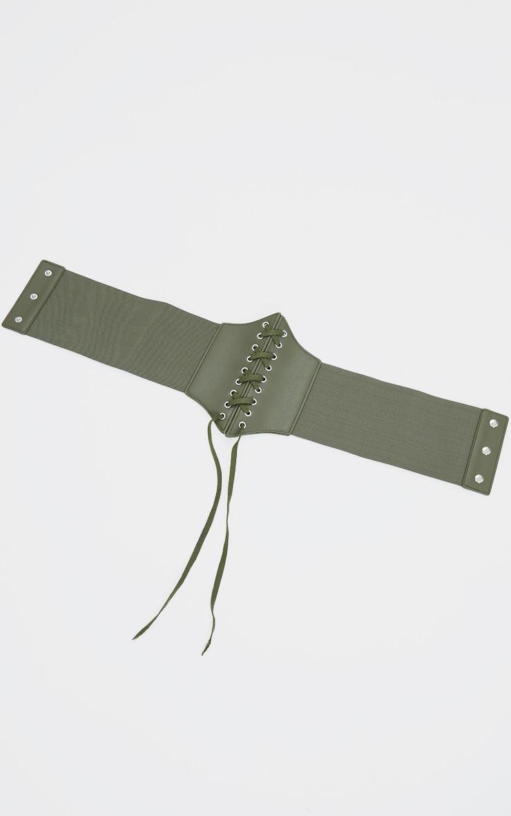 Khaki Lace Up PU Corset Belt 2