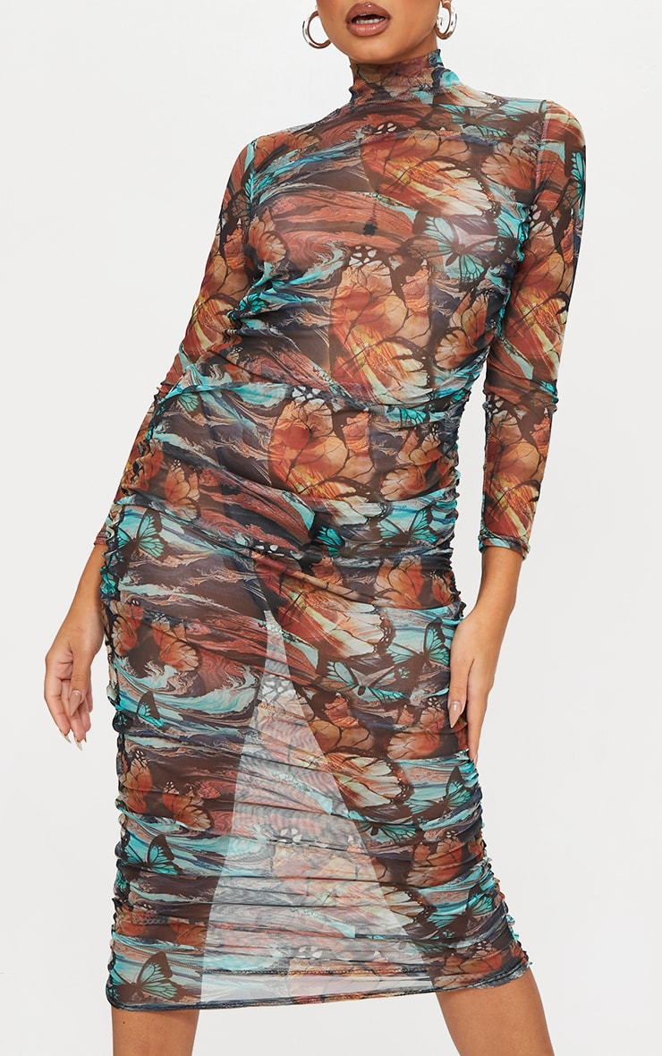 Petite Multi Butterfly Ruched Meshed Midi Dress 4