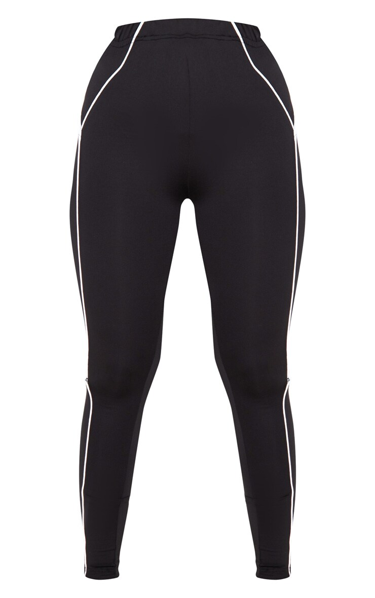 Black Reflective Piping High Waist Gym Legging 3