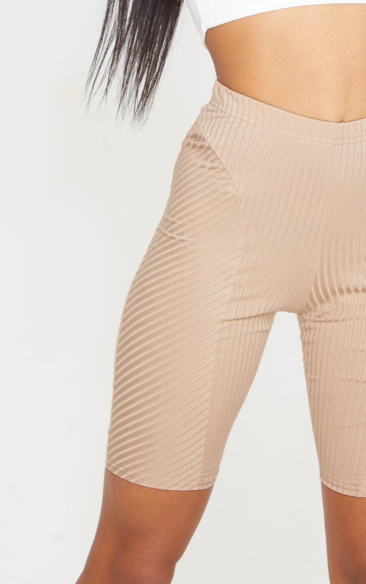 Camel Rib Panel Detail Bike Shorts 5
