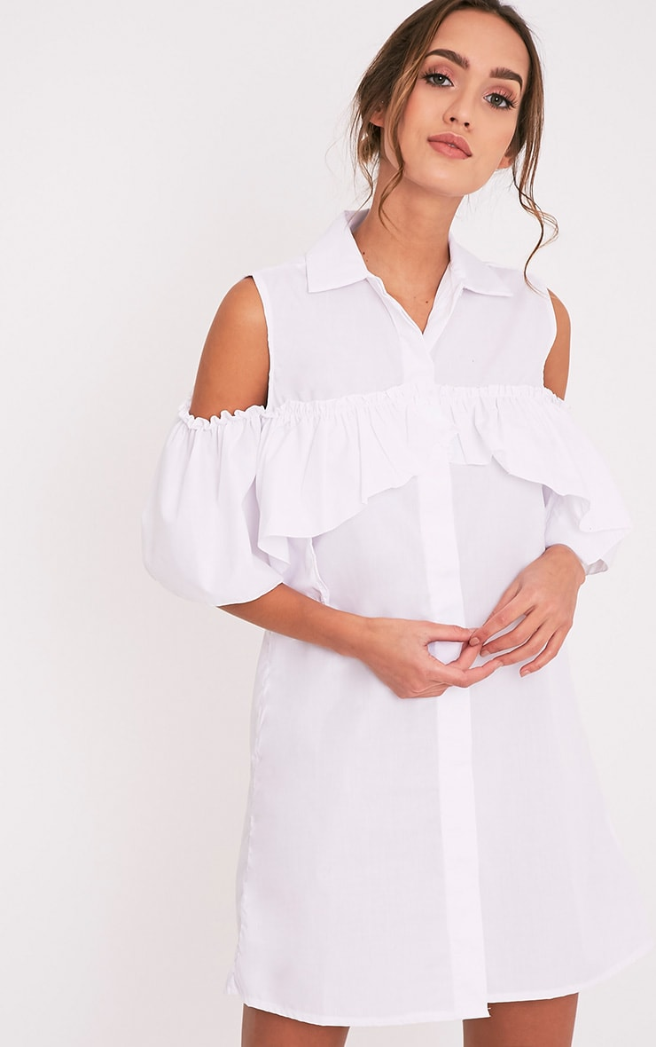 Ashlee White Cold Shoulder Frill Detail Shirt Dress 1