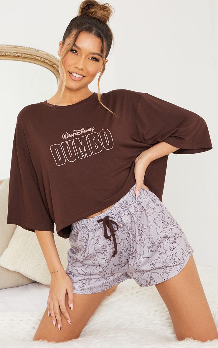 Brown Disney Dumbo T-Shirt And Shorts PJ Set 1