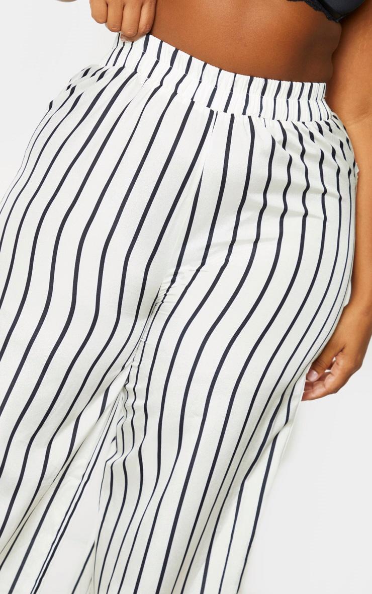 Plus Cream Striped Print Wide Leg Pants 5