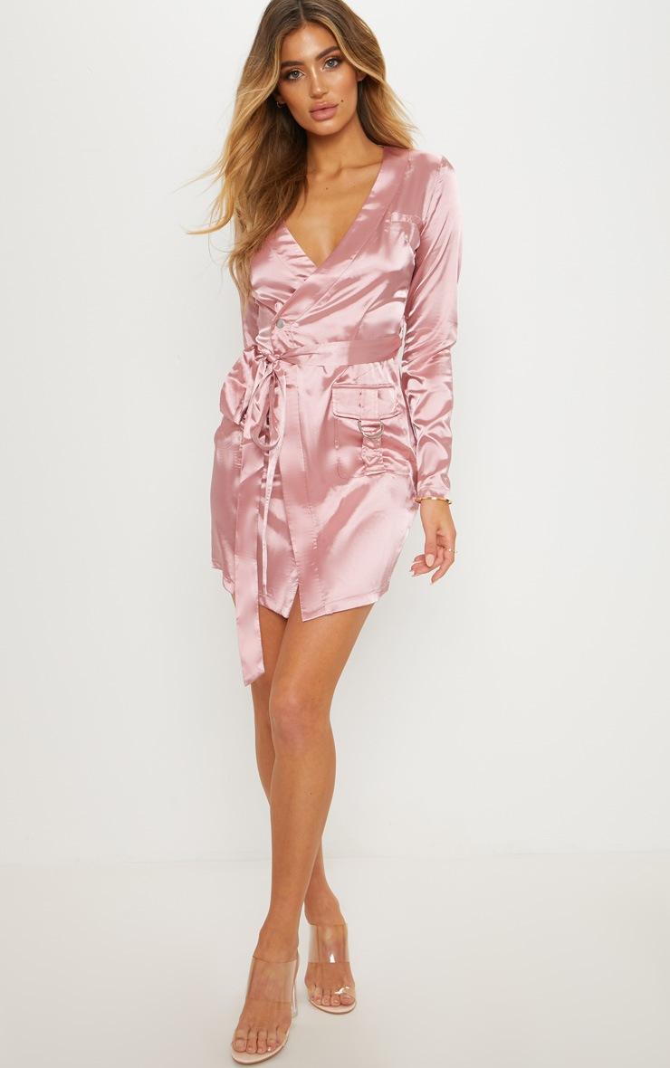 Rose Satin Utility Long Sleeve Bodycon Dress 4