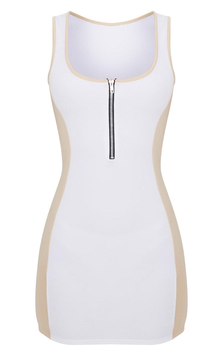 Nude Square Neck Scuba Contrast Bodycon Dress  3