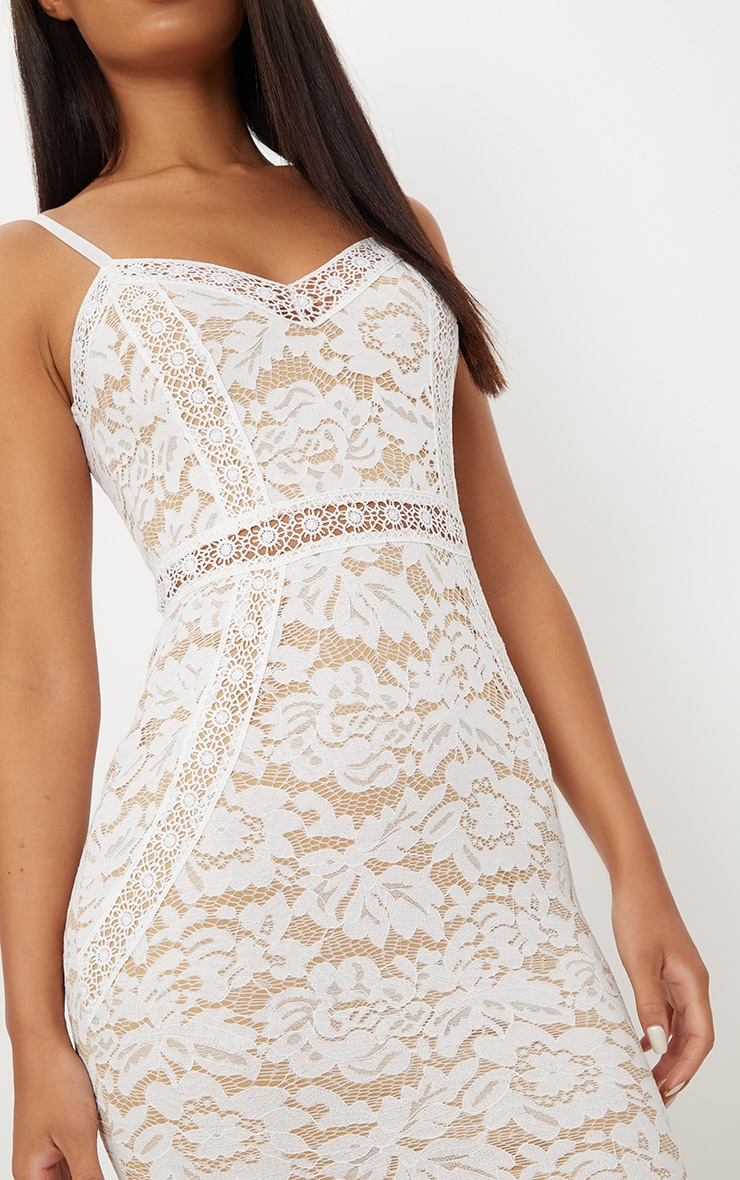 White Strappy Lace Contrast Bodycon Dress 5