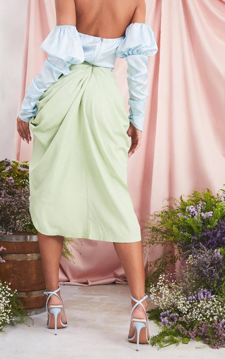 Sage Ruched Side Midi Skirt 3