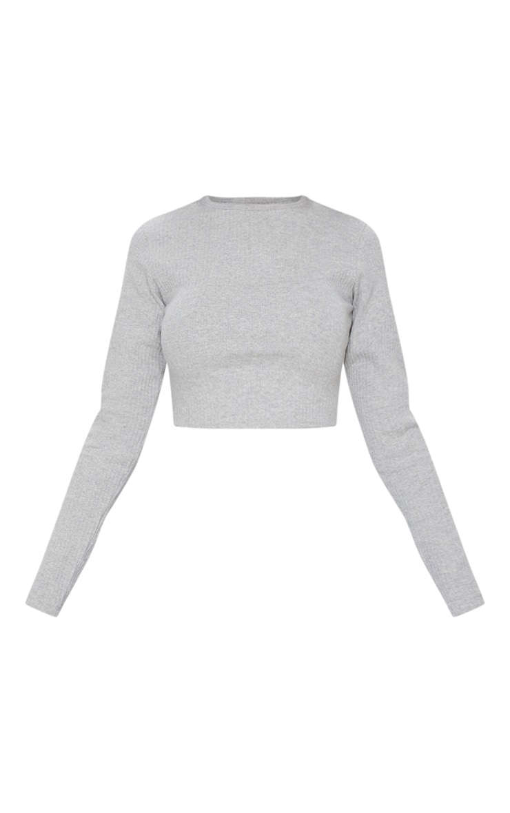 Grey Long Sleeve Soft Rib Top 5