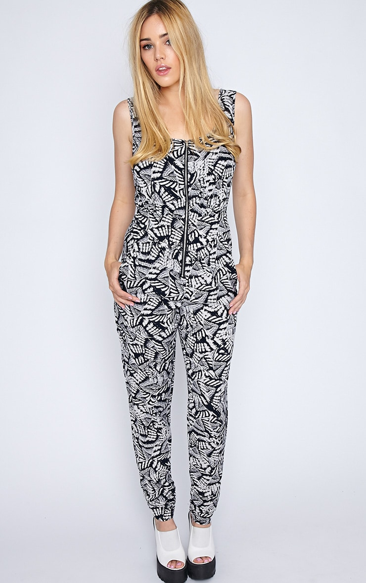 Isa Black And White Aztec Jumpsuit  4
