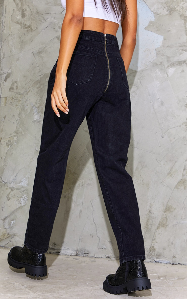 Washed Black Bum Zip Detail Mom Jeans 3