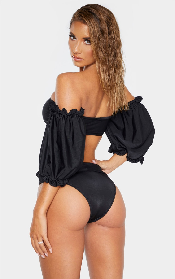 Black 3/4 Bardot Puff Sleeve Bikini Top 2