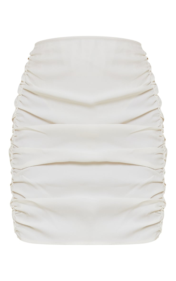 Cream Woven Ruched Seam Front Mini Skirt 6