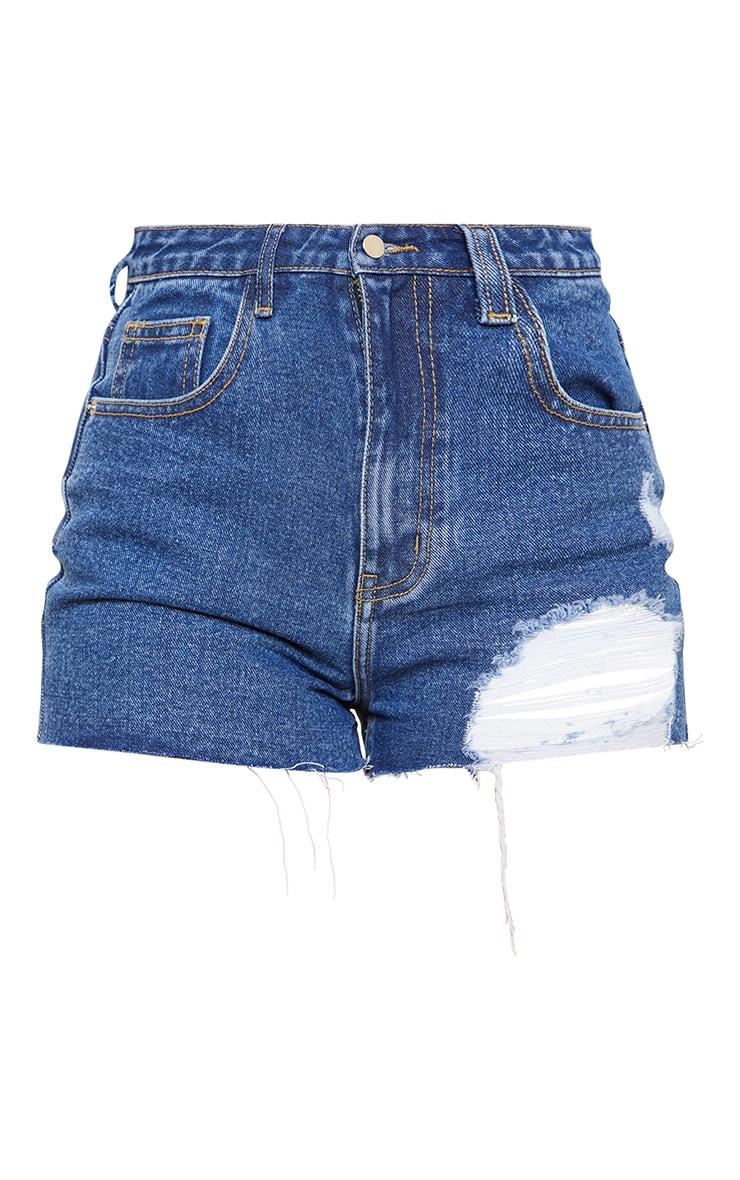 PRETTYLITTLETHING Petite Mid Blue Wash Ripped Denim Mom Shorts 6