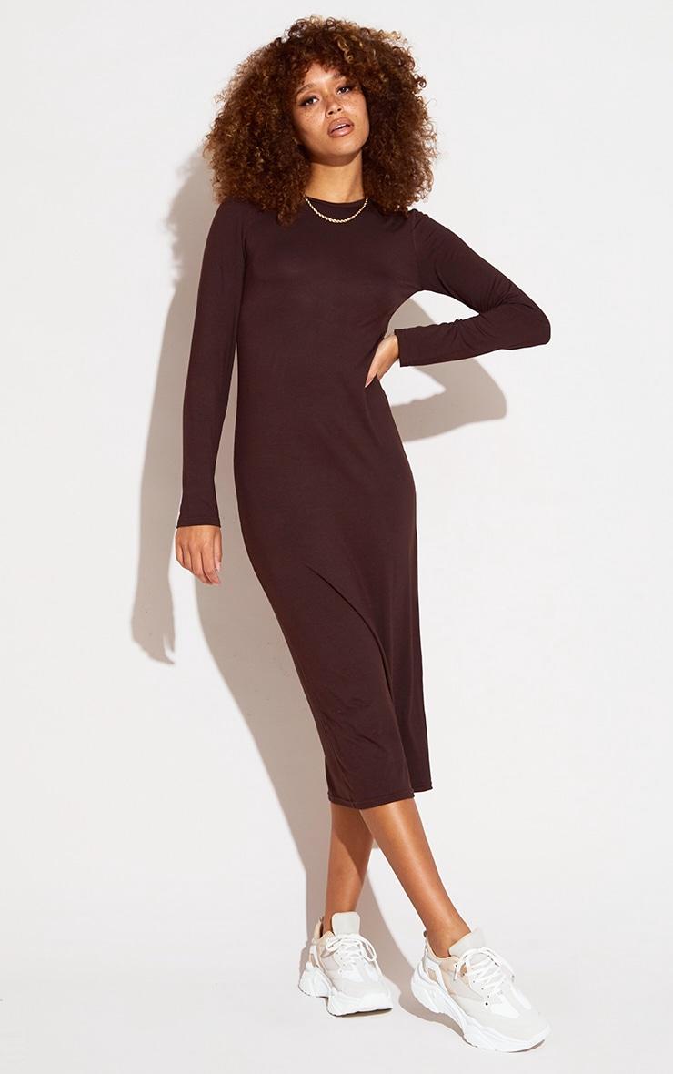 Chocolate Scoop Neck Jersey Long Sleeve Midi Dress 1