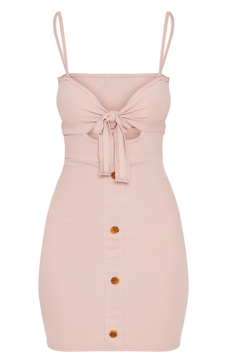 Dusty Pink Ribbed Tie Front Button Down Dress 3