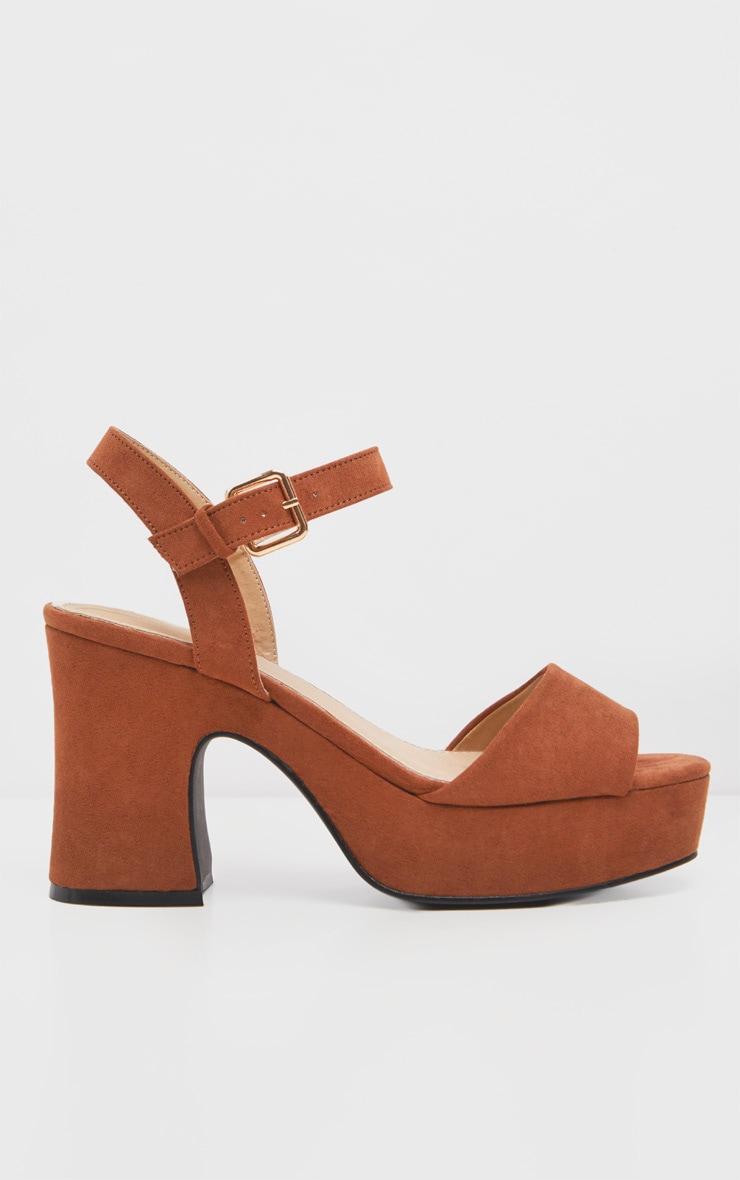 Tan 70's Platform Chunky Sandal 2