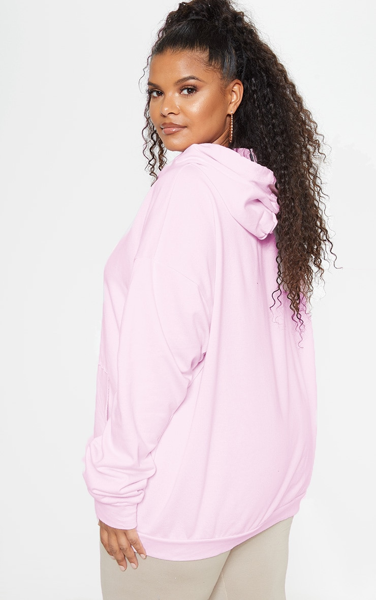 PRETTYLITTLETHING Plus Light Pink Embroidered Oversized Hoodie 3