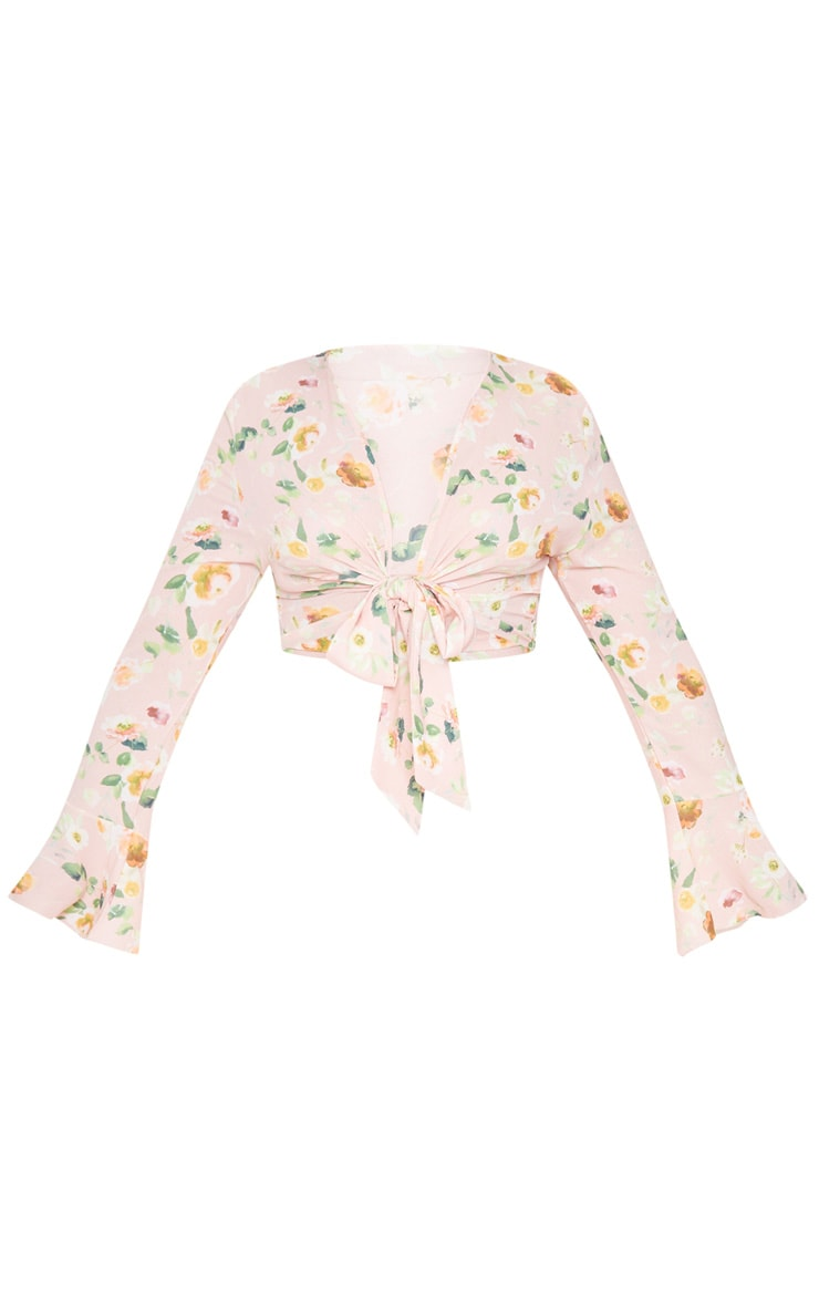 Plus Dusty Pink Floral Tie Front Frill Sleeve Blouse 3