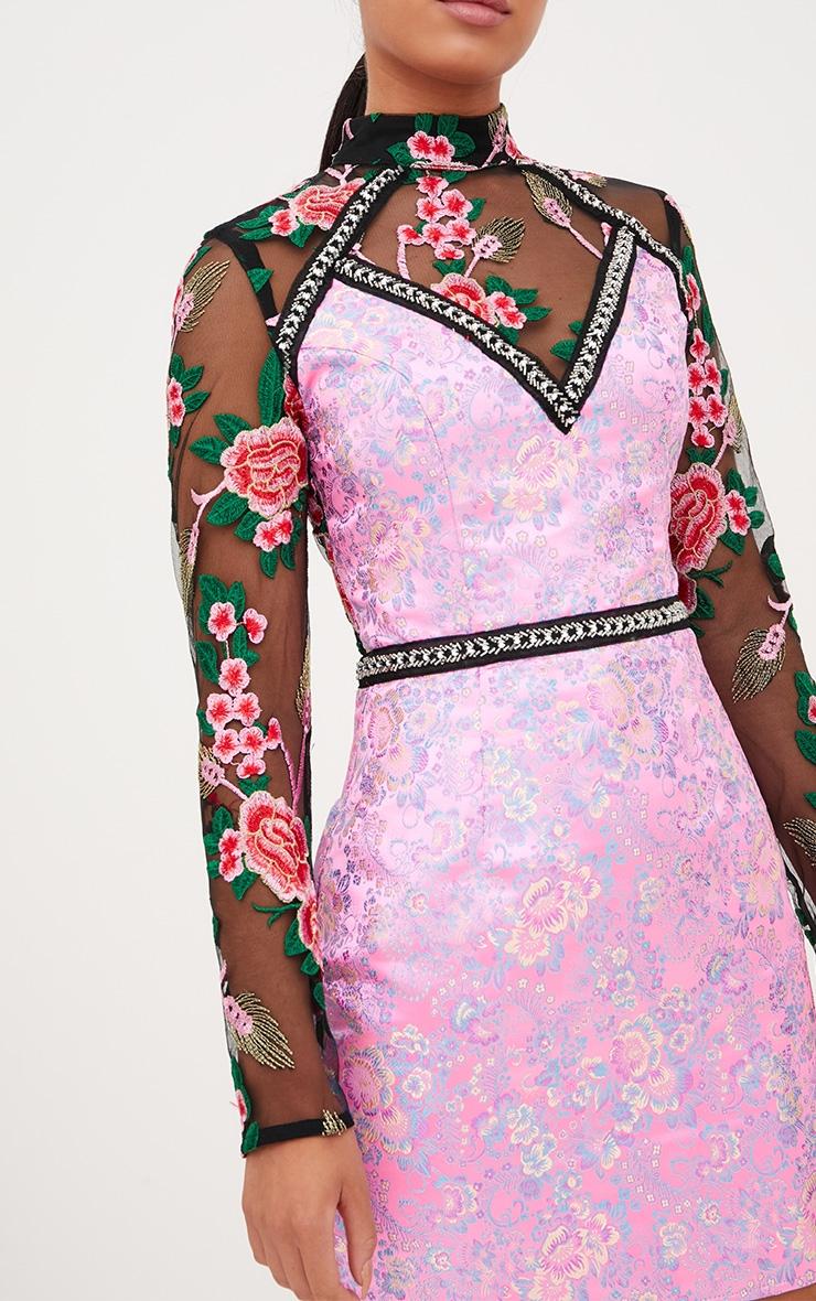 Premium Pink Lace Detail High Neck Jacquard Bodycon Dress 5