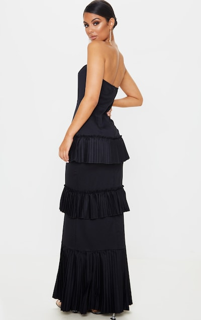 Black Pleated Tiered Bandeau Maxi Dress