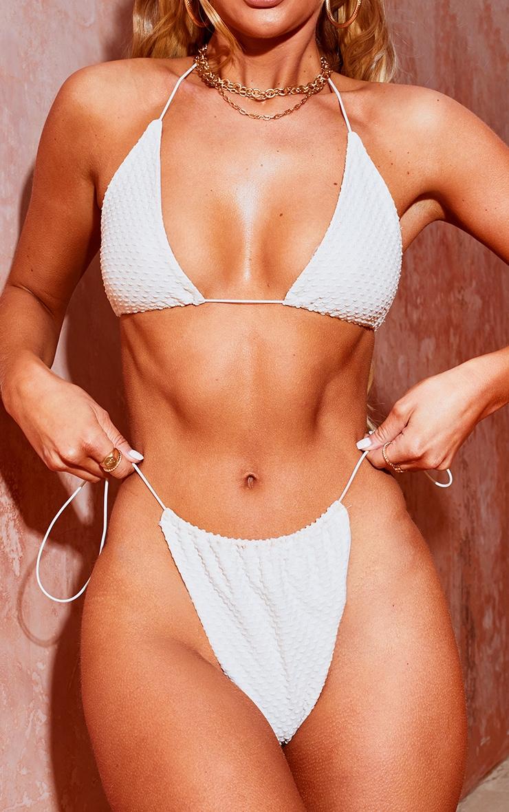 Nude Waffle Texture Tie Side Bikini Bottoms 1