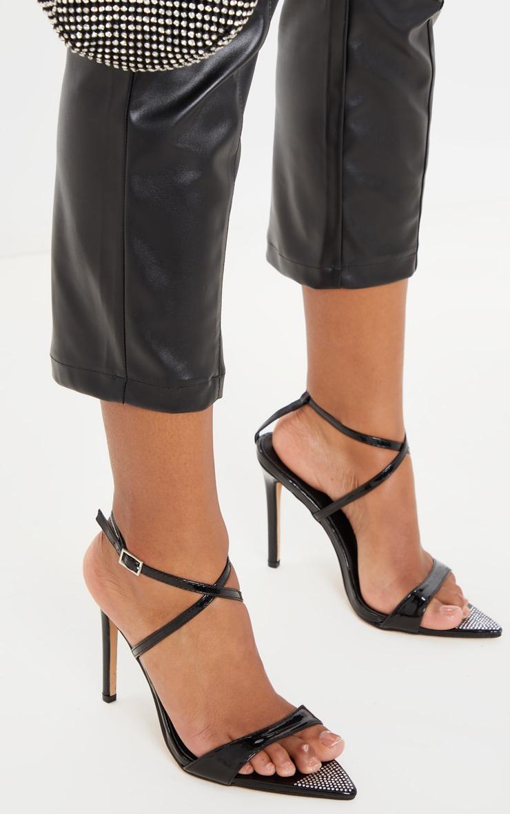 Sandales pointues noires à brides et strass 2