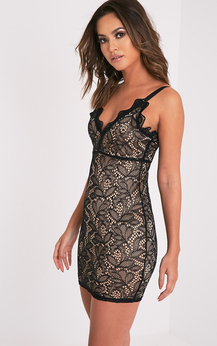 Isabel Black Scallop Lace Detail Bodycon Dress 4