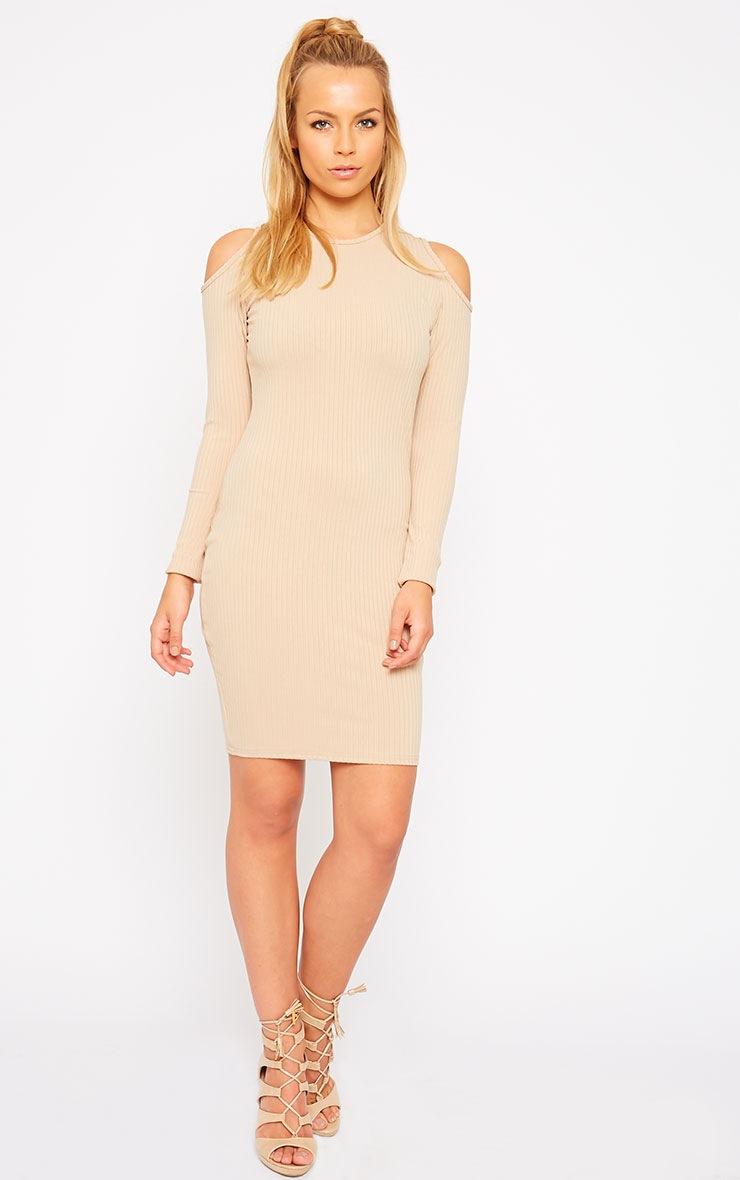 Tocarra Camel Rib Cut Out Shoulder Dress 3