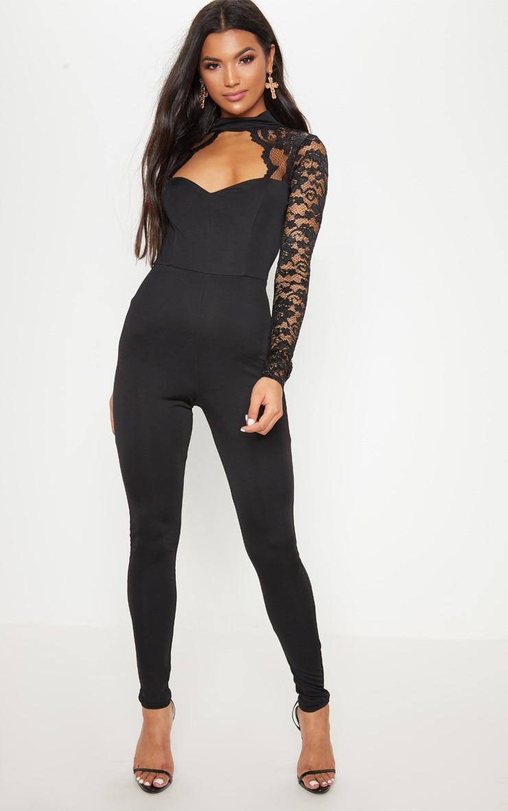 Black Lace Scalloped Cut Out Neck Jumpsuit