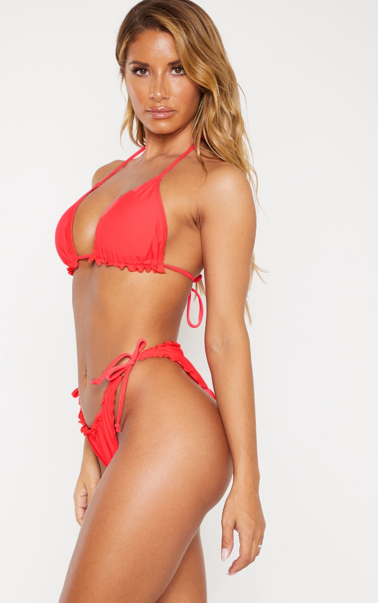 Neon Coral Frill Edge Ruched Back Bikini Bottom 2