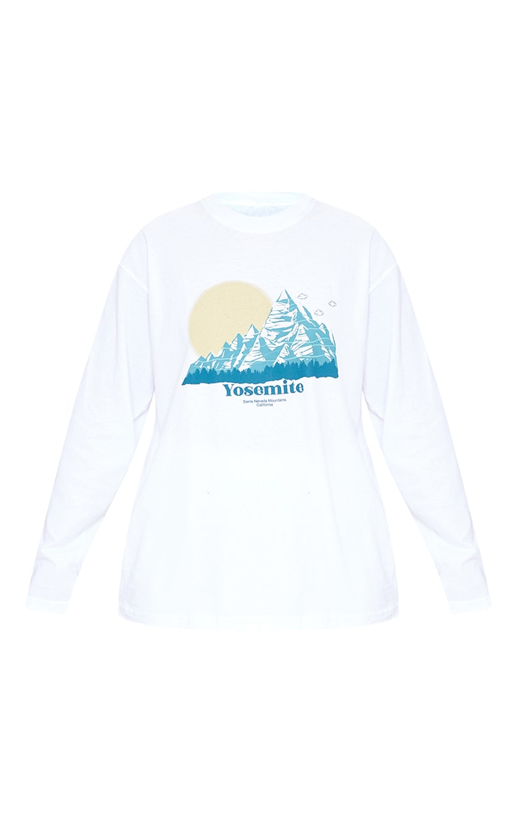 White Yosemite Printed Oversized Long Sleeve T Shirt 5