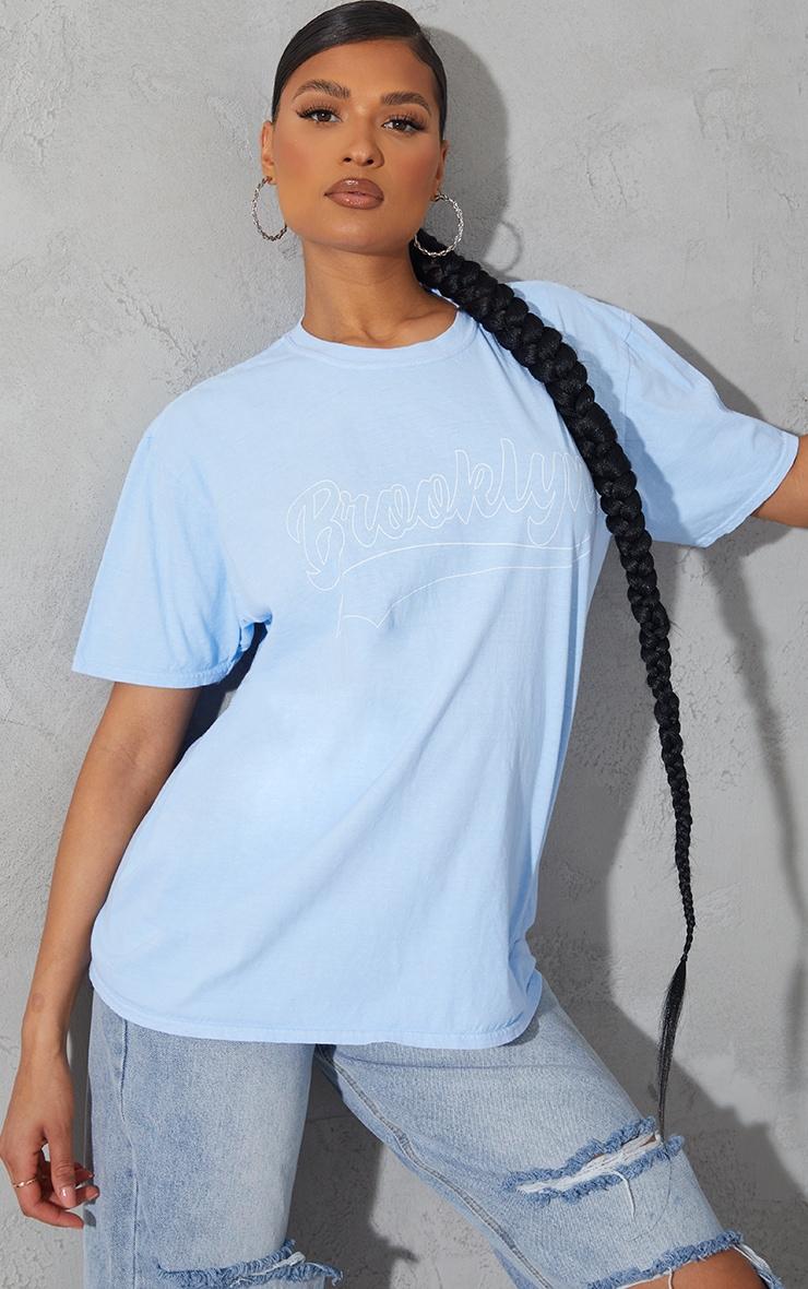 Baby Blue Brooklyn Slogan T Shirt 1