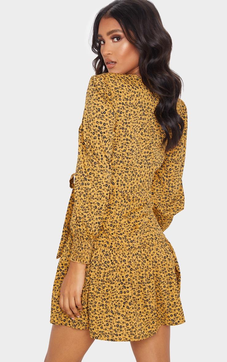 Mustard Ditsy Floral Frill Hem Wrap Front Tea Dress 2