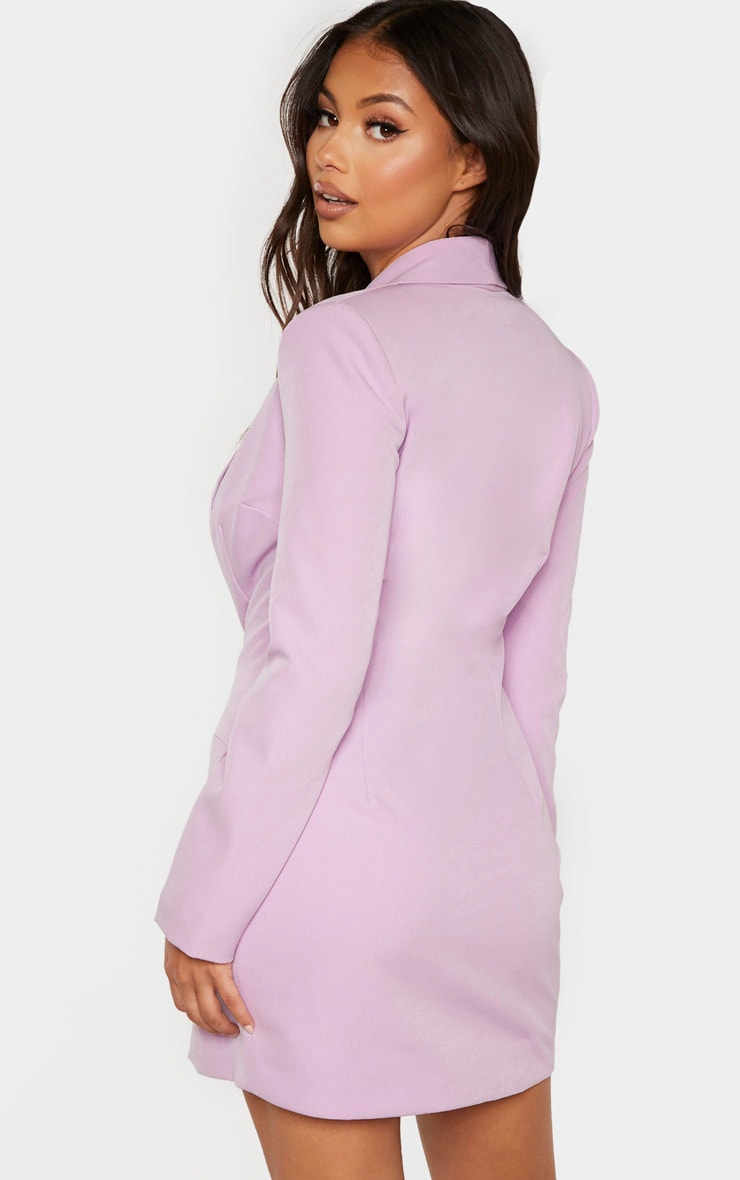 Petite Lilac Button Woven Blazer Dress 2