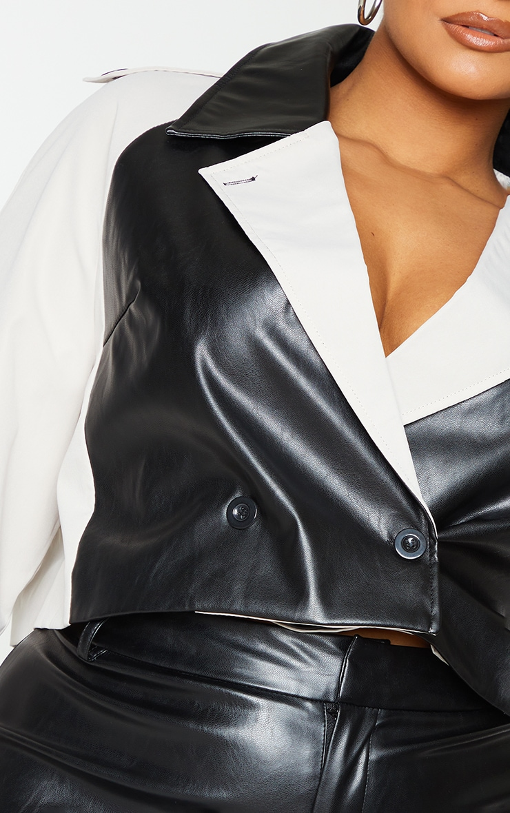 Plus Stone Contrast Panel PU Cropped Trench Jacket 6