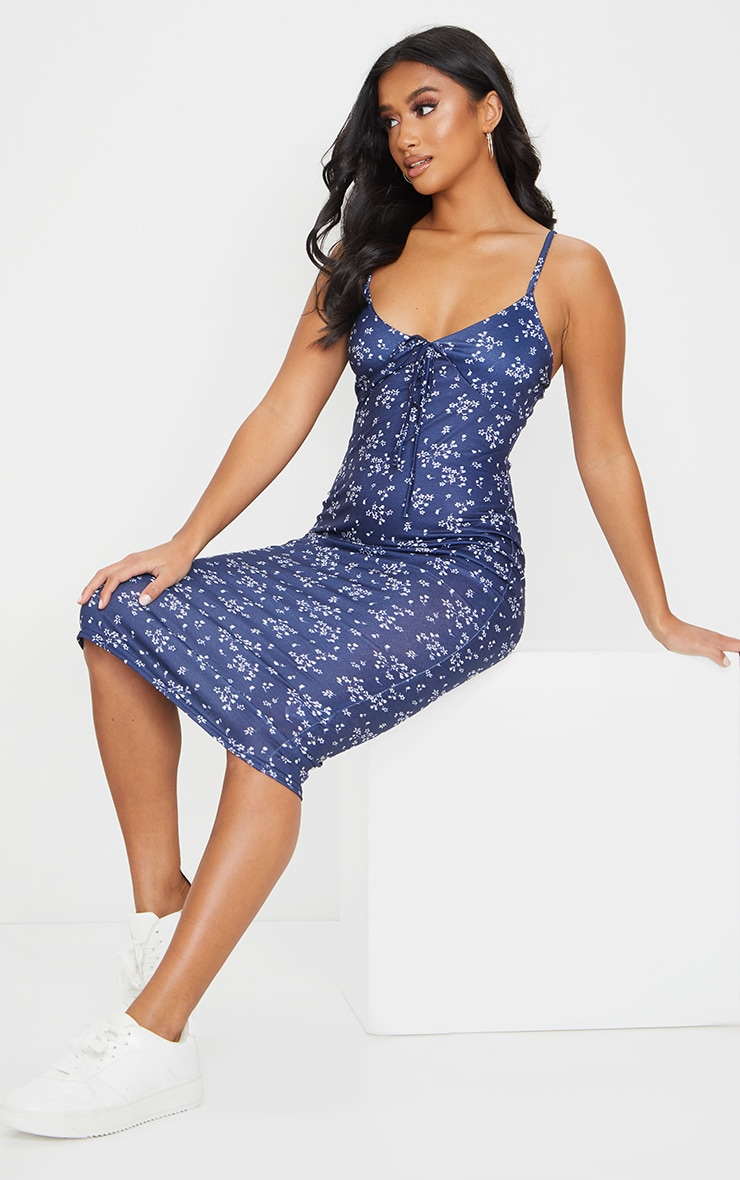 Petite Navy Jersey Midi Ditsy Floral Dress 3
