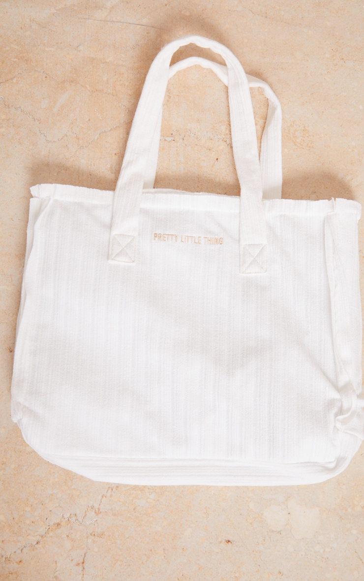 PRETTYLITTLETHING White Ribbed Oversized Tote Bag 2
