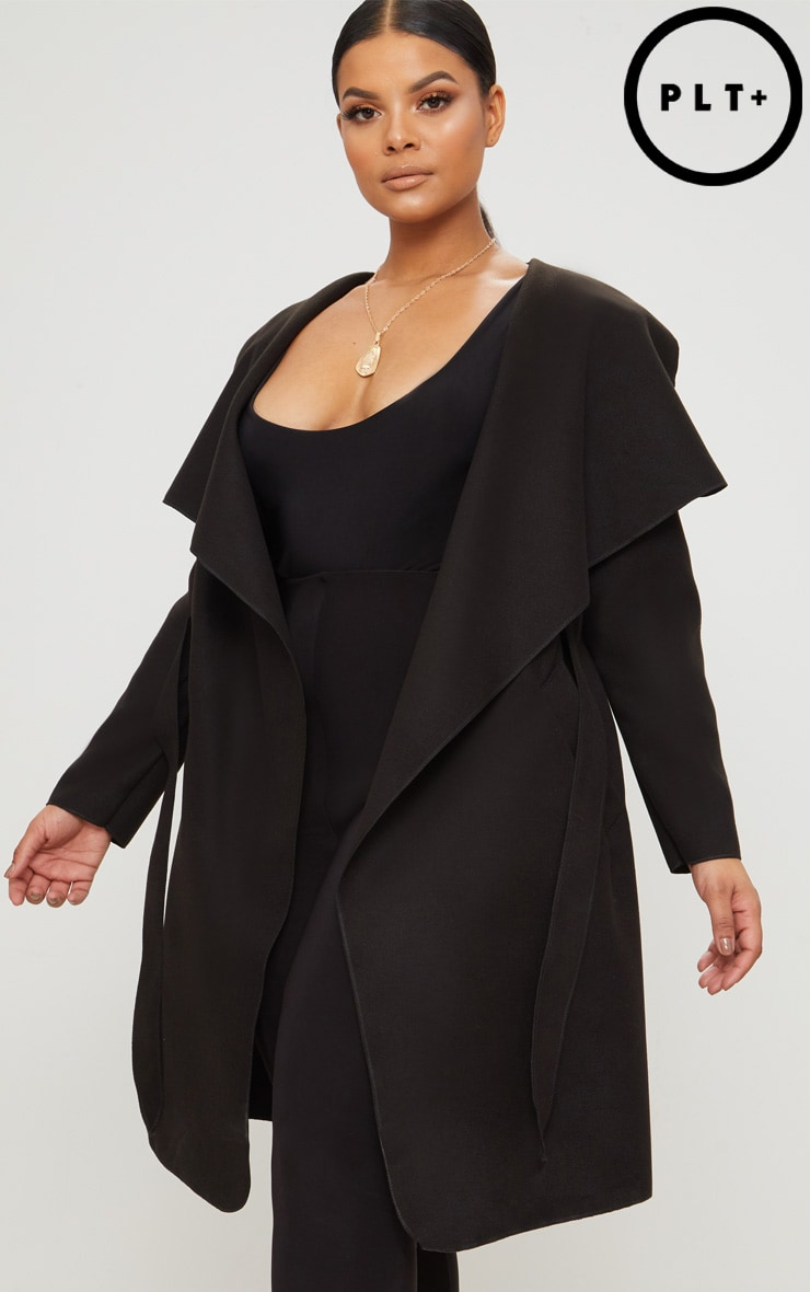 Plus Black Waterfall Coat