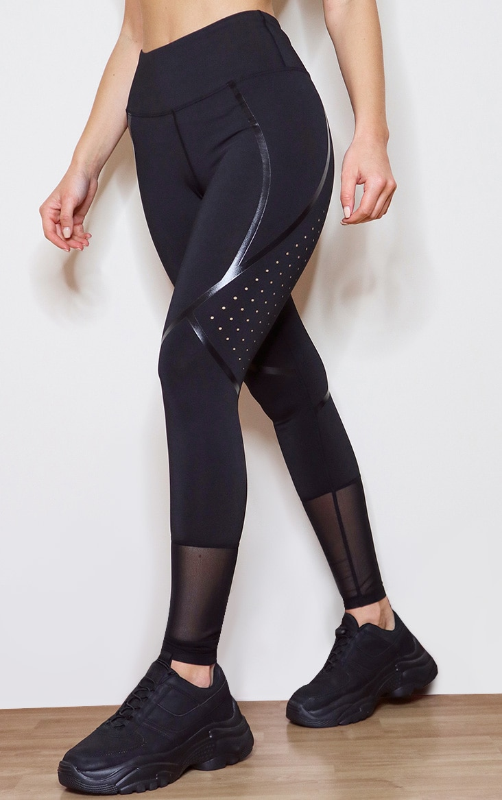 Black High Shine Detail Gym Legging 2