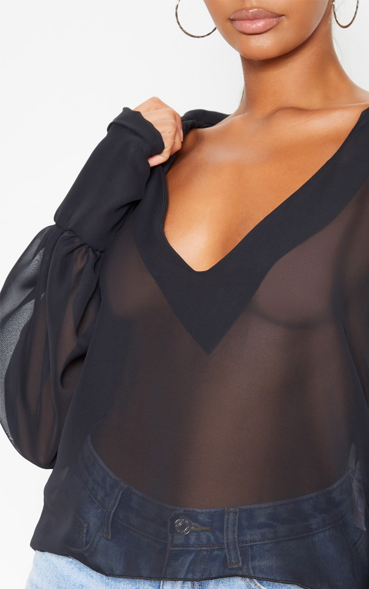 Black Sheer Bell Sleeve Blouse  5