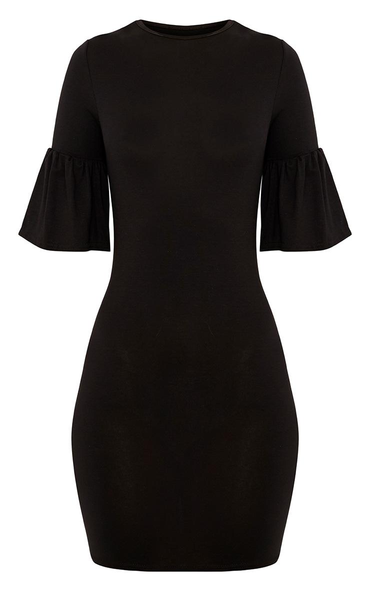Ashlyn Black Frill Sleeve Bodycon Dress 3