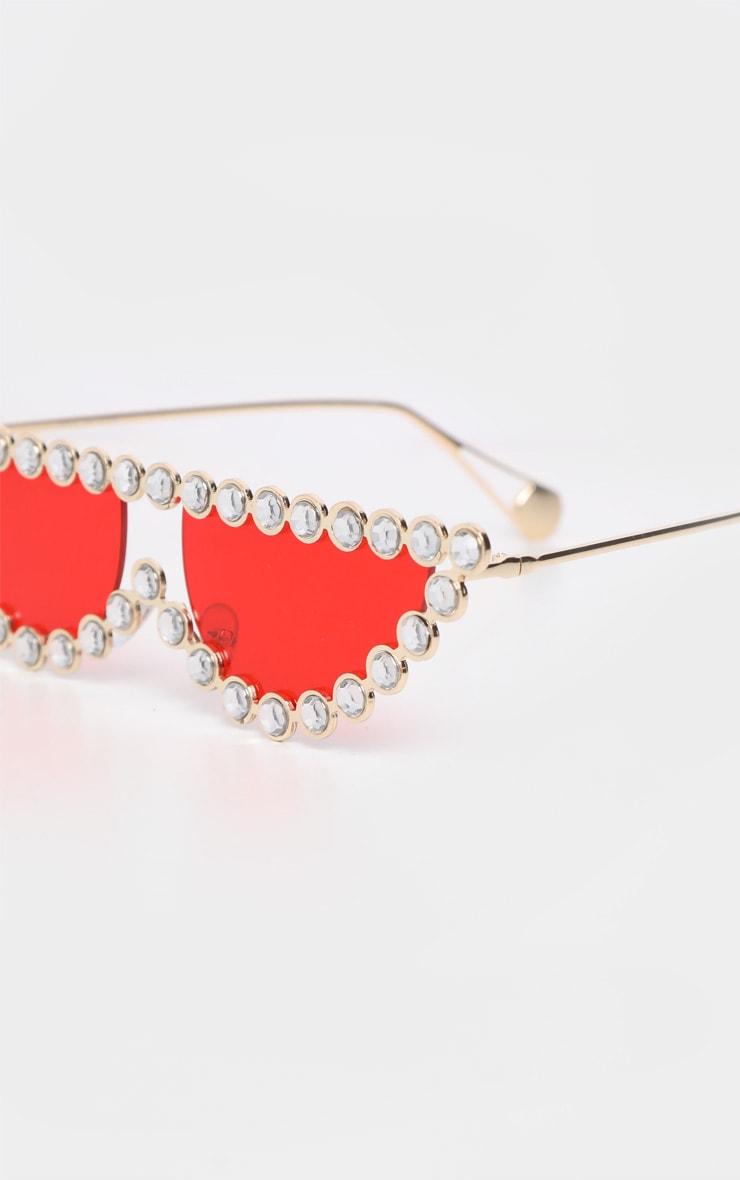 Red Lens Diamante Frame Cat Eye Sunglasses  4