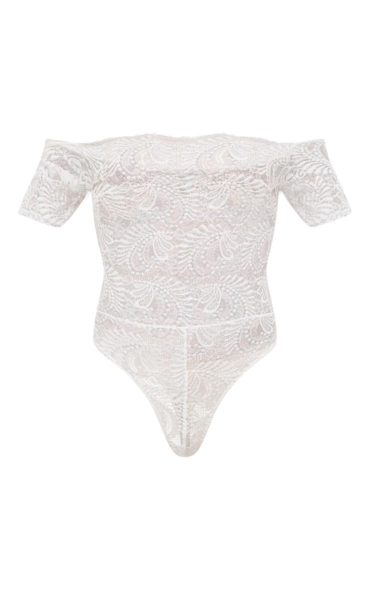 White Bardot Sheer Lace Thong Bodysuit 3