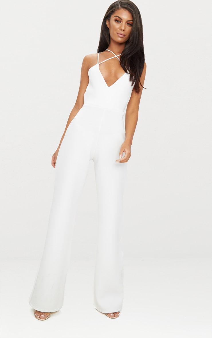 White Scuba Cross Strap Jumpsuit 1