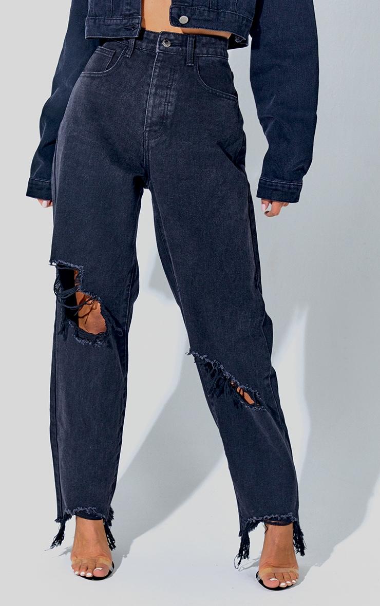 PRETTYLITTLETHING Washed Black Extreme Distressed Hem Boyfriend Jeans 2