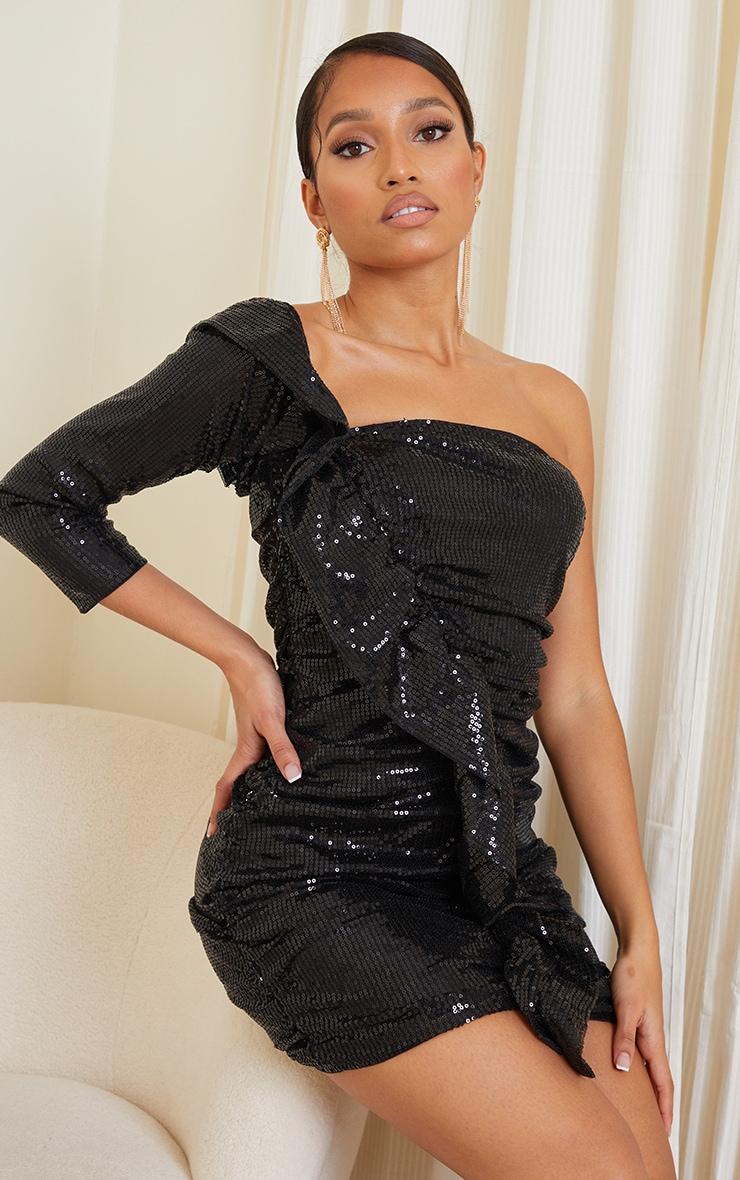 Petite Black Sequin One Shoulder Ruffle Bodycon Dress 1