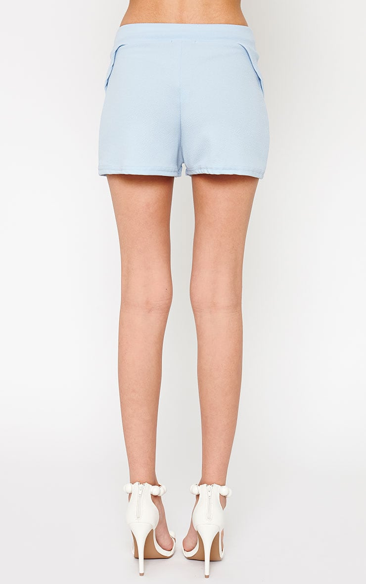 Devon Powder Blue Wrap Detail Shorts 4