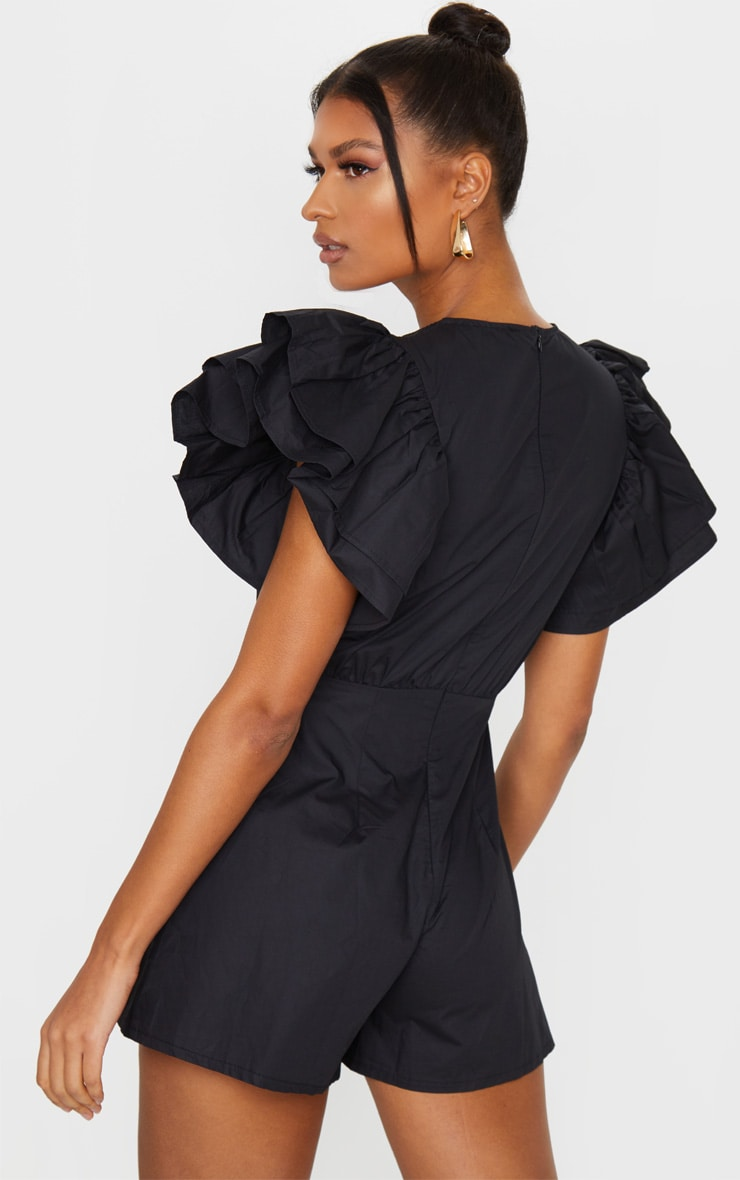 Black Frill Sleeve Woven Playsuit 2